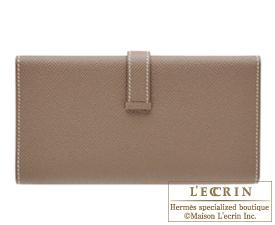 Hermes Bearn tri-fold wallet Etoupe grey Epsom leather Silver hardware