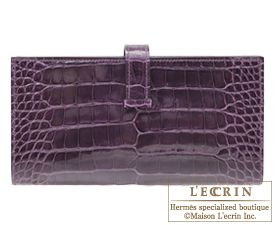 Hermes Bearn Soufflet Amethyst/Purple Alligator crocodile skin Silver hardware