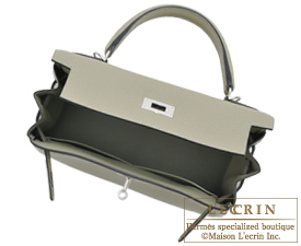 Hermes Kelly bag 28 Sauge Clemence leather Silver hardware