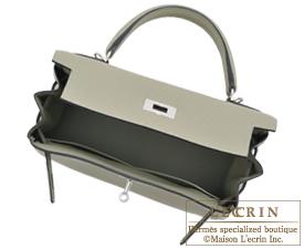 Hermes Kelly bag 28 Sauge Clemence leather Silver hardware