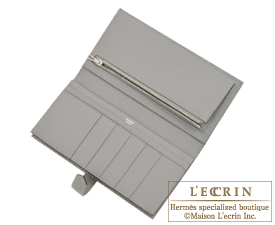 Hermes Bearn Soufflet Gris mouette Epsom leather Silver hardware