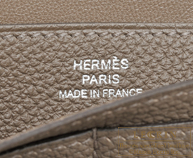 Hermes Dogon LONG Taupe grey Togo leather Matt silver hardware
