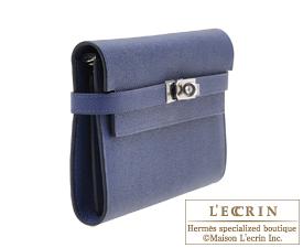 Hermes Kelly wallet long Blue saphir Epsom leather Silver hardware