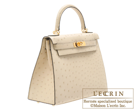 85ee0e5b8bb Hermes Kelly bag 28 Sellier Parchemin Ostrich leather Gold hardware ...