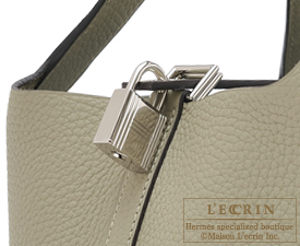 Hermes Picotin Lock bag MM Sauge Clemence leather Silver hardware