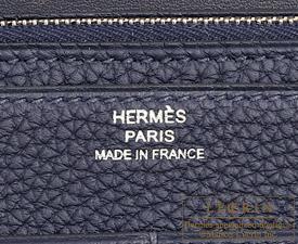 Hermes Dogon GM Blue nuit Togo leather Silver hardware