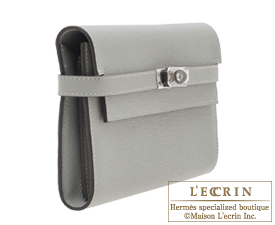 Hermes Kelly wallet long Gris mouette Epsom leather Silver hardware
