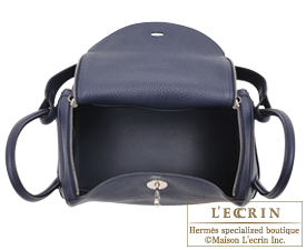 Hermes Lindy bag 26 Blue nuit Clemence leather Silver hardware