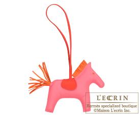 Hermes Rodeo charm Rose azalee/Orange poppy Agneau