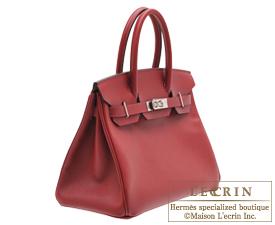 Hermes Birkin bag 30 Rouge grenat Epsom leather Silver hardware