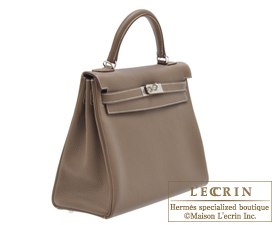 Hermes Kelly bag 32 Etoup grey Clemence leather Silver hardware