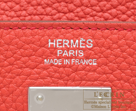 Hermes Kelly bag 32 Retourne Bougainvillier Clemence leather Silver hardware