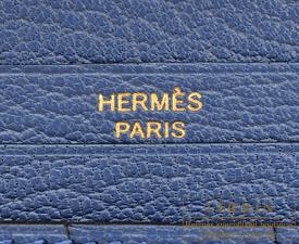 Hermes Bearn Soufflet Blue agate Chevre myzore goatskin Gold hardware