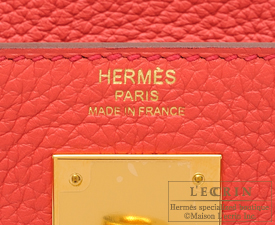 Hermes Kelly bag 28 Bougainvillier Clemence leather Gold hardware