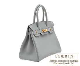Hermes Birkin bag 30 Gris mouette Togo leather Gold hardware