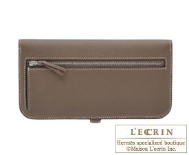 Hermes Dogon LONG Etoupe grey Togo leather Silver hardware