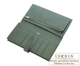 Hermes Bearn Soufflet Vert Anglais Epsom leather Silver hardware