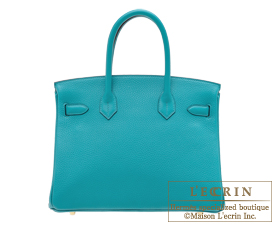 Hermes Birkin bag 30 Blue paon Clemence leather Gold hardware