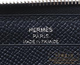 Hermes Azap long Blue indigo Epsom leather Silver hardware