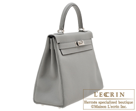 Hermes Kelly bag 32 Retourne Gris mouette Togo leather Silver hardware