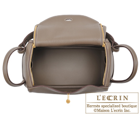 Hermes Lindy bag 26 Etoupe grey Clemence leather Gold hardware