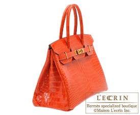 Hermes Orange Krokodil Birkin Tasche