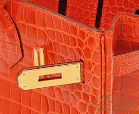 e87769c13f ... Hermes Birkin bag 30 Orange poppy Porosus crocodile skin Gold hardware