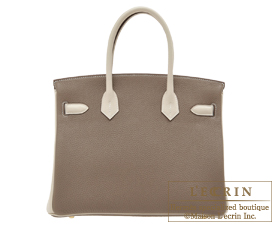 Hermes Birkin bag 30 Etoupe grey/Craie Togo leather Gold hardware