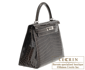 Hermes Kelly bag 28 Graphite Niloticus crocodile skin Silver hardware