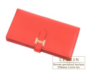 Hermes Bearn Soufflet Rouge tomate Chevre myzore goatskin Gold hardware