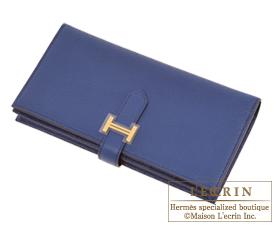 Hermes Bearn Soufflet Blue saphir Chevre myzore goatskin Gold hardware
