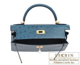 ab4d73faa17 Hermes Kelly bag 28 Sellier Cobalt Ostrich leather Gold hardware ...