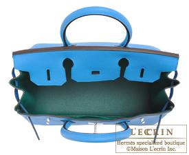 Hermes Birkin Verso bag 30 Blue zanzibar/Malachite Togo leather Silver hardware