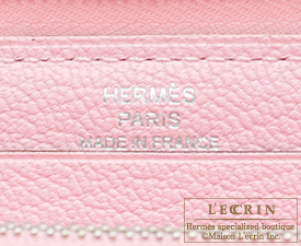 Hermes Azap long Rose sakura Sikkim leather Silver hardware