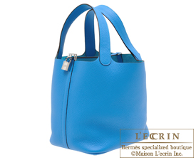 Hermes Picotin Lock bag MM Blue zanzibar Clemence leather Silver hardware