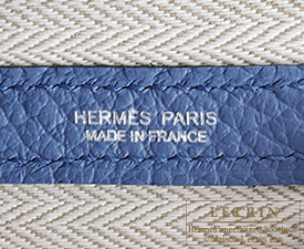 Hermes Garden Party bag TPM Blue agate Country leather Silver hardware