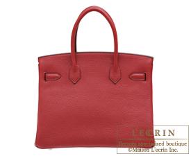 Hermes Birkin bag 30 Rouge grenat Clemence leather Silver hardware