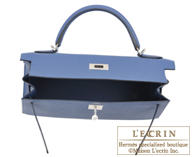 Hermes Kelly bag 32 Blue agate Epsom leather Silver hardware