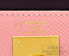 Hermes Kelly bag 28 Rose confetti/Anemone/Rose tyrien Epsom leather Gold hardware