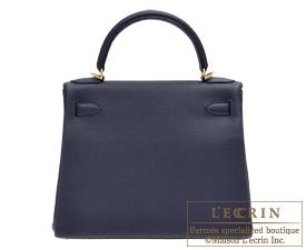 Hermes Kelly bag 28 Blue nuit Togo leather Gold hardware