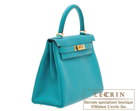 Hermes Kelly bag 28 Blue paon Clemence leather Gold hardware