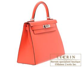Hermes Kelly bag 28 Rose jaipur Epsom leather Silver hardware