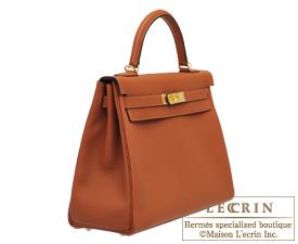 Hermes Kelly bag 32 Retourne Cuivre Togo leather Gold hardware