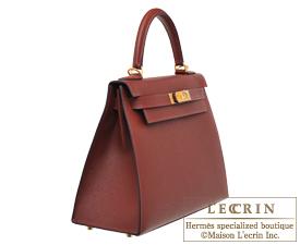 Hermes Kelly bag 28 Rouge H/Blue indigo Epsom leather Gold hardware