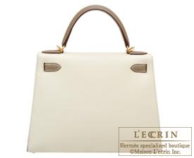 Hermes Kelly bag 28 Craie/Etoupe grey Epsom leather Gold hardware
