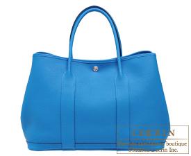 Hermes Garden Party bag PM Blue zanzibar Negonda leather Silver hardware