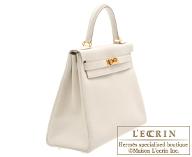 Hermes Kelly bag 32 Craie Clemence leather Gold hardware