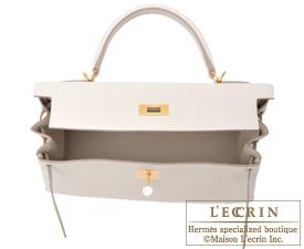 Hermes Kelly bag 32 Craie Clemence leather Gold hardware