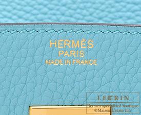 Hermes Birkin bag 30 Blue atoll Clemence leather Gold hardware