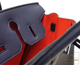 Hermes Birkin Verso bag 30 Blue nuit/Orange poppy Togo leather Silver hardware